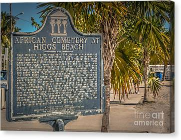 Key West African Cemetery Sign Landscape - Key West - Hdr Style Canvas Print by Ian Monk