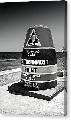 Key West Cuba Distance Marker Canvas Print by Phil Cardamone