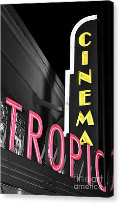 Key West Tropic Cinema Neon Art Deco Theater Signs Color Splash Black And White Canvas Print by Shawn O'Brien