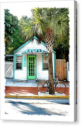 Keys House And Bike Canvas Print by Linda Olsen