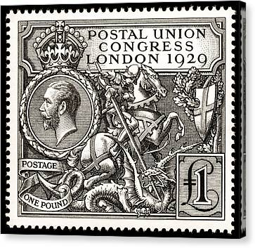 Kgv Postal Union Congress 1929 1 Pound Postage Stamp Canvas Print by Harold Nelson and JAC Harrison