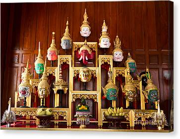 Khon Masks Is Situated On The Set Of Altar Table Canvas Print