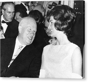Khrushchev And Jackie Kennedy Canvas Print by Underwood Archives