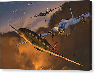 Fighter Canvas Print - Ki-61 Hien Vs. B-29s by Robert Perry