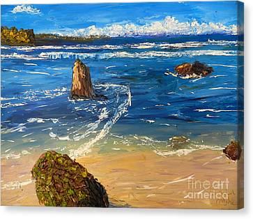 Canvas Print featuring the painting Kiama Beach by Pamela  Meredith