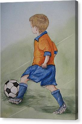 Kick N It ....boy And Soccer Canvas Print by Kelly Mills