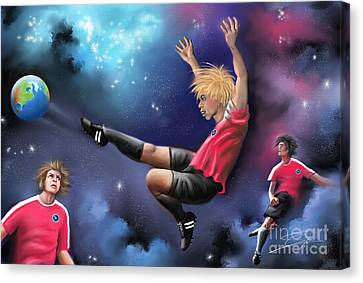 Canvas Print featuring the painting Kick Off by S G