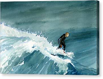 Kid Riding Wave Canvas Print
