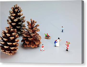 Kids Merry Christmas By Pinecones Canvas Print by Paul Ge