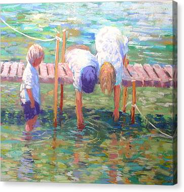 Kids On The Jetty Canvas Print by Jackie Simmonds