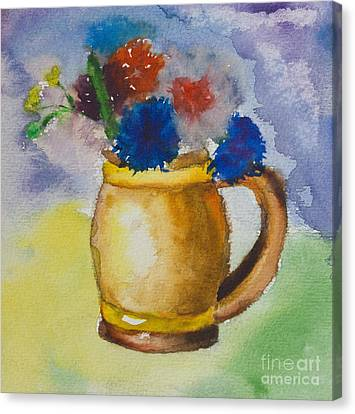Kid's Watercolor Drawing Of A Colorful Bouquet Canvas Print by Kiril Stanchev