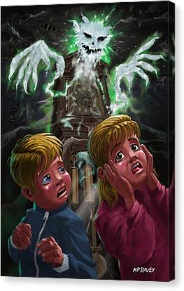 Creepy Canvas Print - Kids With Haunted Grandfather Clock Ghost by Martin Davey