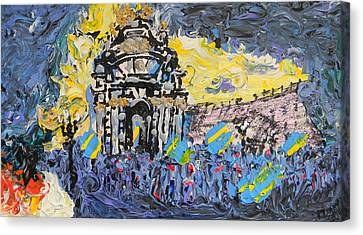 Kiev Burning Canvas Print by Marwan George Khoury