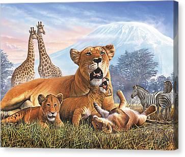 Kilimanjaro Lions Canvas Print