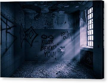 Canvas Print featuring the photograph Killer Behind You - Abandoned Hospital Asylum by Gary Heller