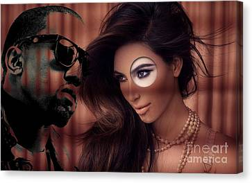 Kim And Kanye Canvas Print by Marvin Blaine