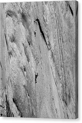 Aquarian Canvas Print - 1m6527-bw-kim Schmitz And Jim Bridwell On First Ascent Aquarian Wall El Capitan  by Ed  Cooper Photography