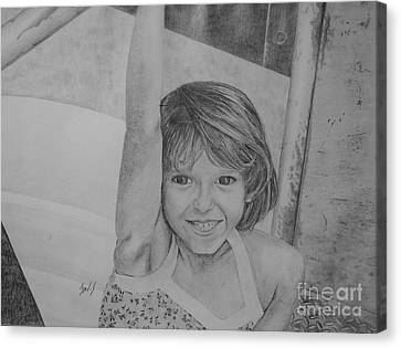 Kimberly In Black And White Canvas Print by Lew Davis