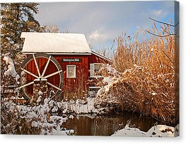 Kimberton Mill After Snow Canvas Print by Michael Porchik