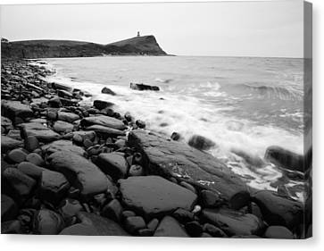 Kimmeridge Bay In Black And White Canvas Print by Ian Middleton