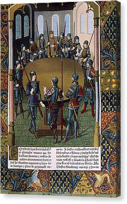 King Arthur And The Knight Of The Round Canvas Print by Everett
