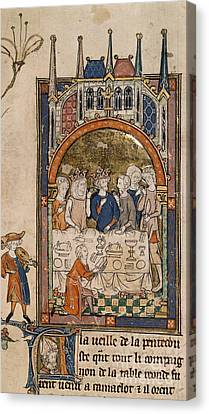 Sacred Artwork Canvas Print - King Arthur's Feast by British Library