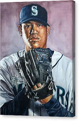 King Felix Hernandez Canvas Print by Michael  Pattison