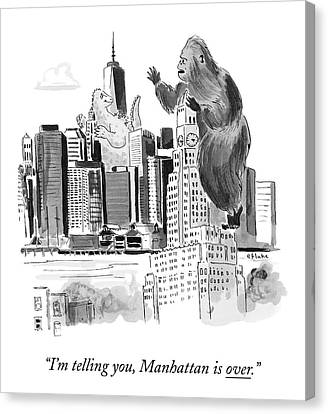Destruction Canvas Print - King Kong, Atop The Williamsburgh Savings Bank by Emily Flake