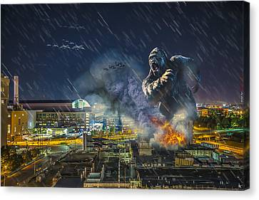 Canvas Print featuring the photograph King Kong By Ford Field by Nicholas  Grunas