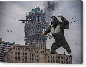 Canvas Print featuring the photograph King Kong In Detroit At Wurlitzer by Nicholas  Grunas