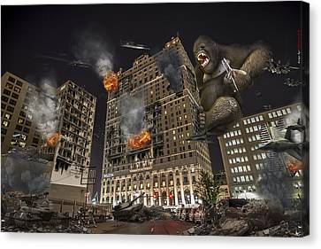 Canvas Print featuring the photograph King Kong In Detroit Westin Hotel by Nicholas  Grunas