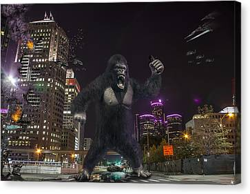 Canvas Print featuring the photograph King Kong On Jefferson St In Detroit by Nicholas  Grunas