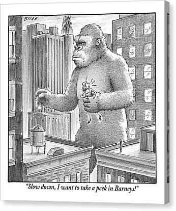 King Kong Stands In A Large City Canvas Print