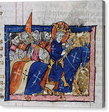 King Leading Crusaders Canvas Print by British Library