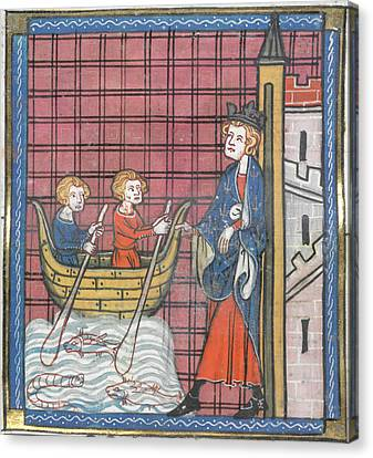 King Louis Ix Sails For France Canvas Print by British Library