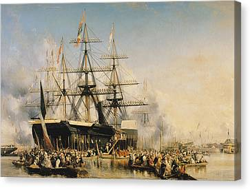 Water Vessels Canvas Print - King Louis-philippe Disembarking At Portsmouth by Louis Eugene Gabriel Isabey