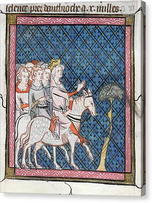King Louis Vii Rides To Antioch Canvas Print by British Library