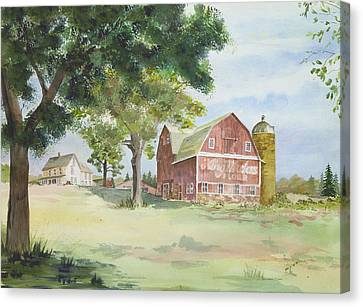 Canvas Print featuring the painting King Midas Barn by Susan Crossman Buscho