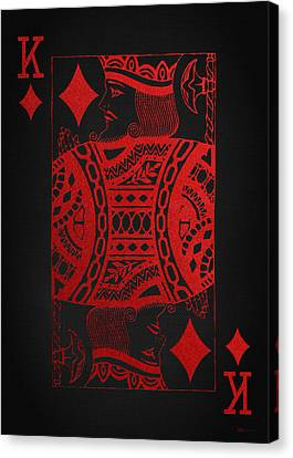 Canvas Print featuring the digital art King Of Diamonds In Red On Black Canvas   by Serge Averbukh