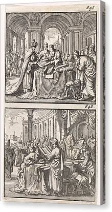King Ptolemy Philadelphus Studying The Hebrew Law Scrolls Canvas Print by Jan Luyken And Barent Visscher And Andries Van Damme