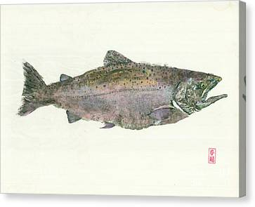Gyotaku Canvas Print - King Salmon Gyotaku by Julia Tinker