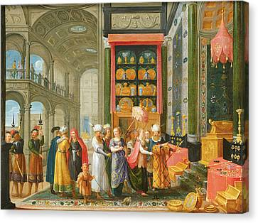 King Solomon And The Queen Of Sheba Oil On Copper Canvas Print by Adriaen van Stalbemt