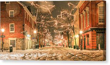 Snowy Night Night Canvas Print - King Street by JC Findley