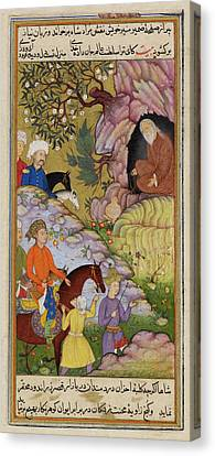 King Visiting A Sage In A Cave Canvas Print by British Library