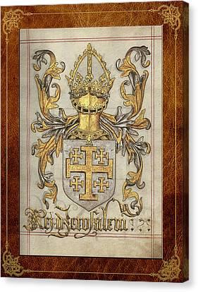 Jerusalem Canvas Print - Kingdom Of Jerusalem Medieval Coat Of Arms  by Serge Averbukh