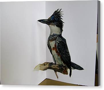 Kingfisher Pop Up Card Canvas Print by Alfred Ng