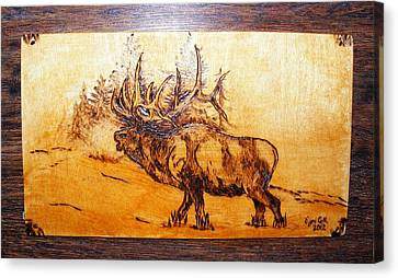 Kingof Forest-wood Pyrography Canvas Print by Egri George-Christian