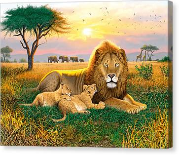 Kings Of The Serengeti Canvas Print by Chris Heitt