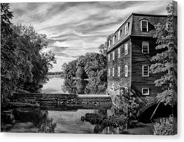 Kingston Mill - Princeton Nj In Black And White Canvas Print by Bill Cannon