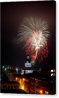 Kingston New Years Eve Fireworks Canvas Print by Paul Wash
